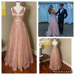 Prom Dress 2Cute SZ 6 Pink & Gold